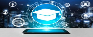 Distance Learning image with Graduation cap connected electronically to online tools