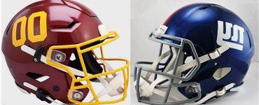 Washington Football Team and New York Giant Helmets