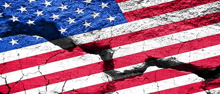 Huge Crack in American Flag