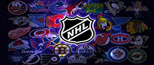 NHL Logo with NHL teams logos in background