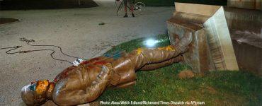 Toppled Civil War Statue