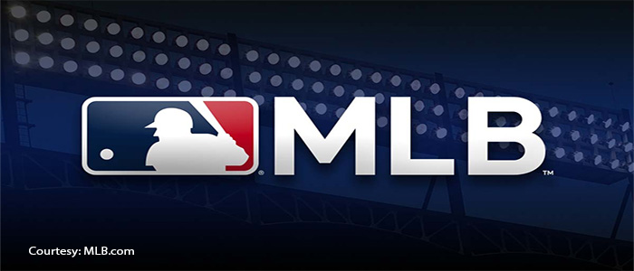 MLB Logo against a blue background courtesy MLB.com