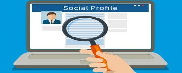 Search Social Profile. Laptop with social network.