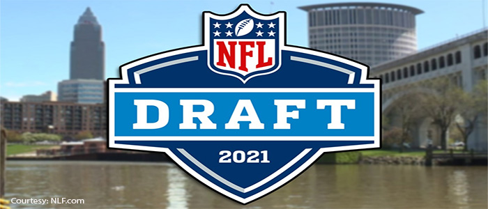 2021 NFT Draft Logo with the city of Cleveland skyline in the background