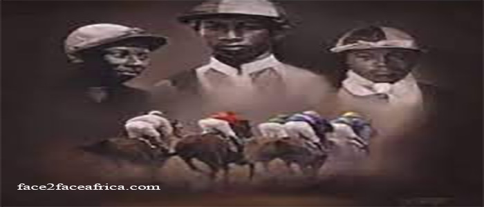 Painting of Black jockeys in the background horses running towards them in the foreground