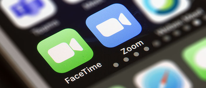 Facetime and Zoom icons on a coputer screen
