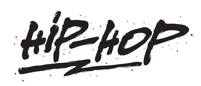 Hip - Hop, ink hand lettering. Modern brush calligraphy. Handwritten phrase.
