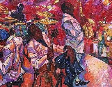 "singer, jazz club, saxophonist, jazz band, oil painting, artist Roman Nogin, series ""Sounds of Jazz."""