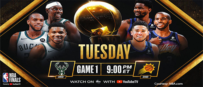 NBA Finals image with stars from both teams and NBA trophy as backdrop