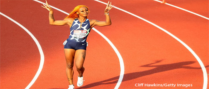 Sha'Carri Richardson: known for her long nails and her colorful hair on the field is a Black-American track and field sprinter